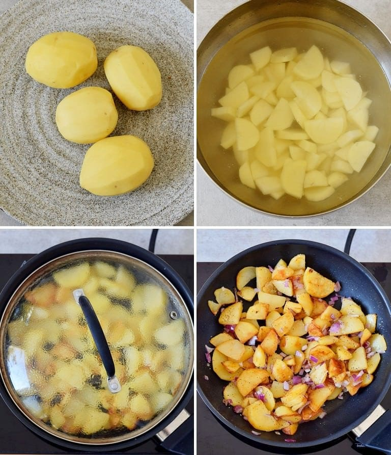 4 process shots of how to make pan-fried potatoes