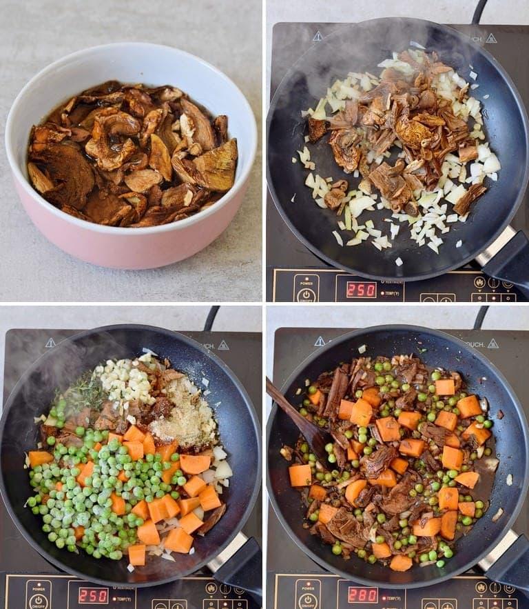 4 step-by-step photos of how to make mushroom bourguignon
