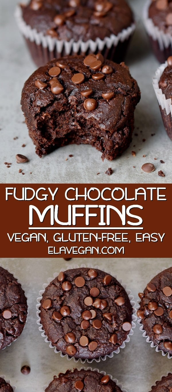 Pinterest Collage of Fudgy Vegan Chocolate Muffins