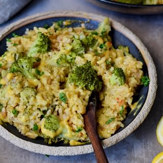 broccoli rice and cheese on a plate
