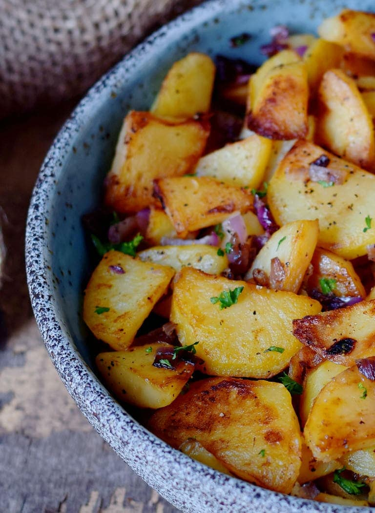 close-up of roasted potatoes in a bowl