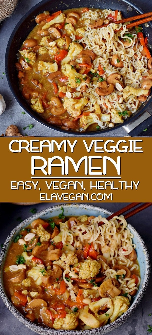 pinterest collage of Creamy Vegan Ramen with vegetables