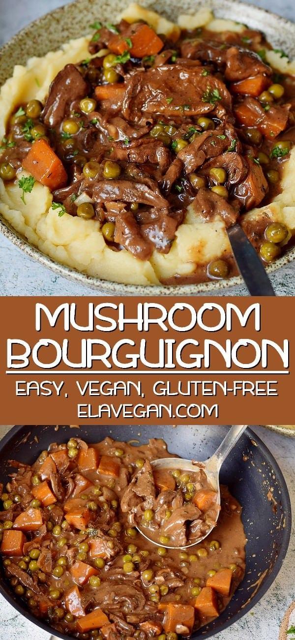 pinterest collage of vegan mushroom bourguignon