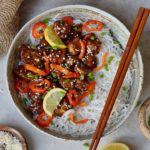 sticky teriyaki tofu with sweet and sour sauce and rice noodles recipe