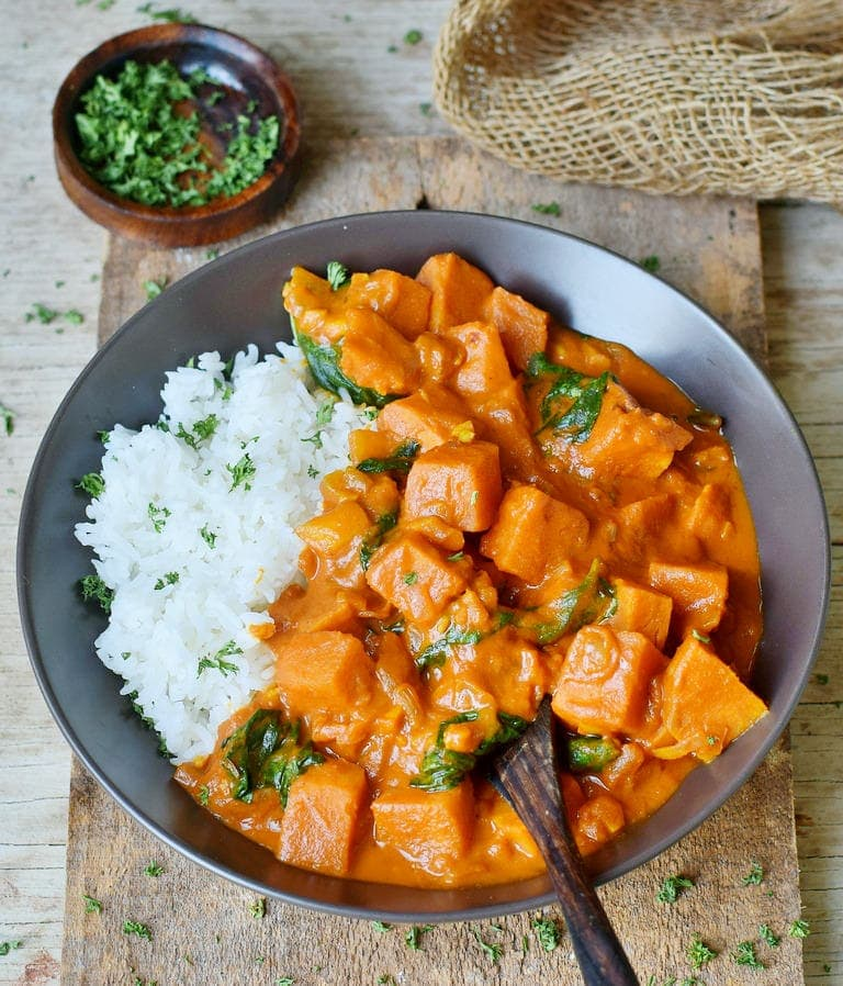 Healthy Creamy Coconut Sweet Potato Curry Recipe with spinach and rice
