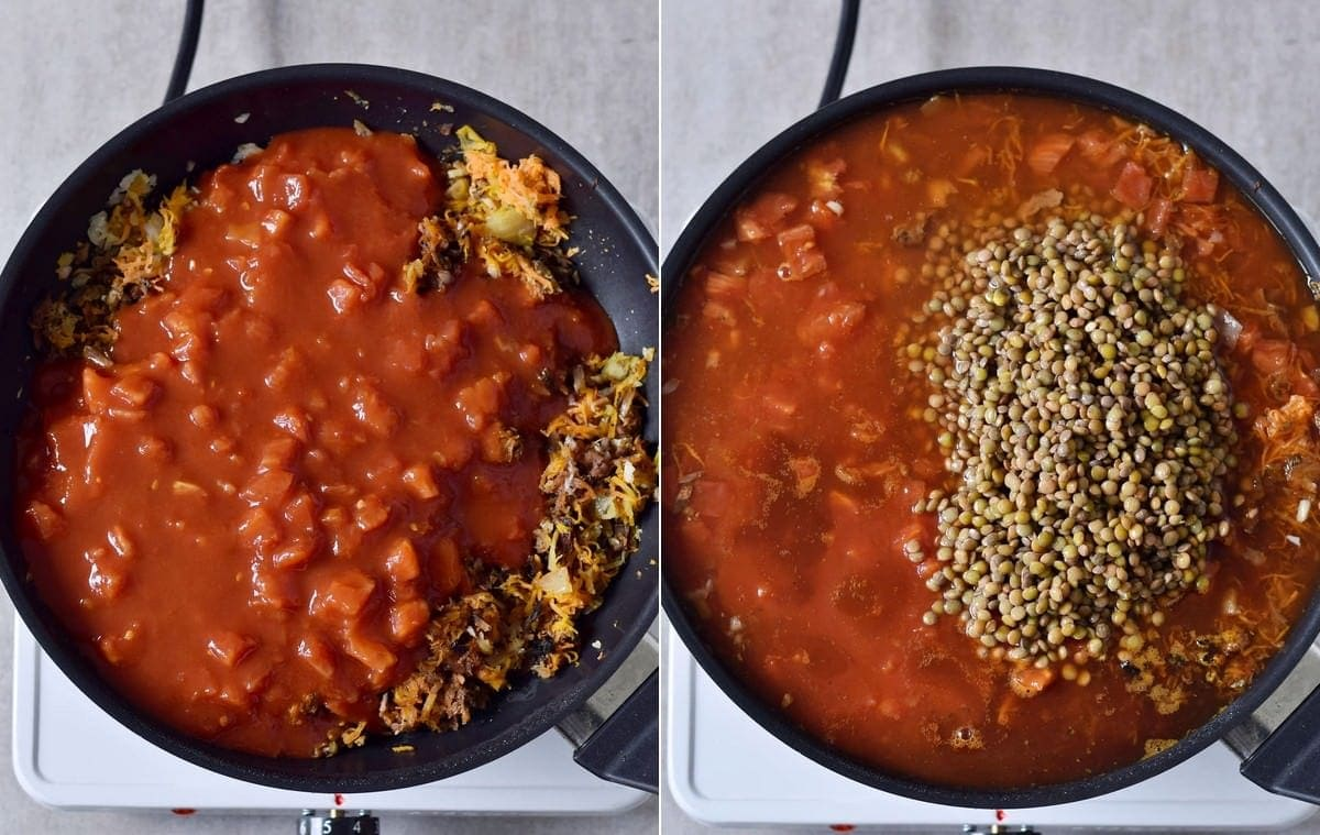 cooked veggies with crushed tomatoes and lentils in a pan