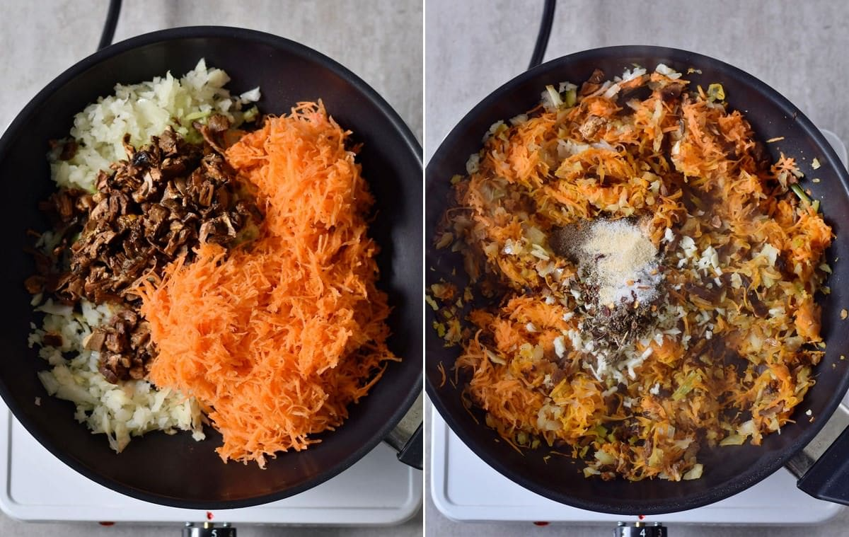 cooked veggies with spices in a black pan