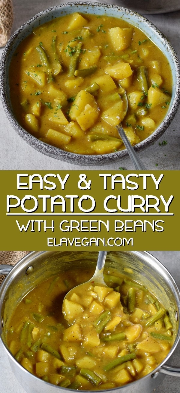 pinterest collage of easy and tasty potato curry with green beans