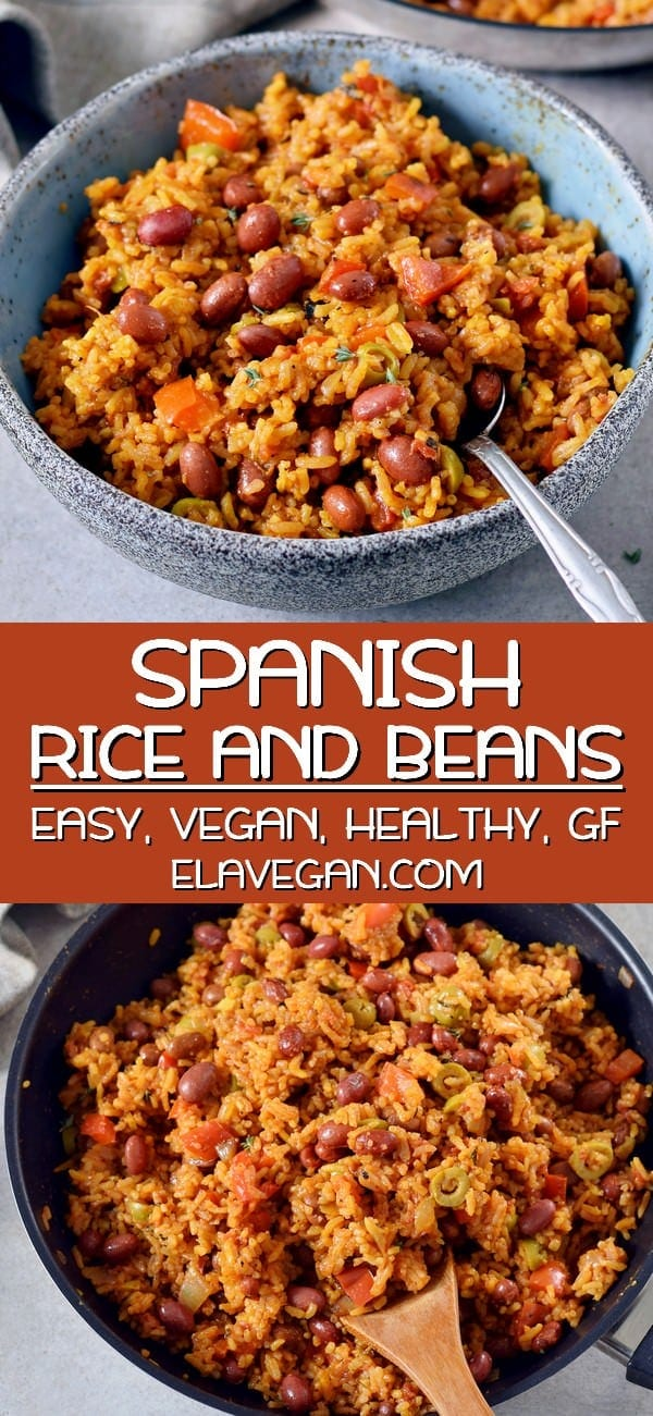 pinterest collage of spanish rice and beans