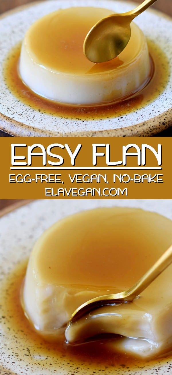pinterest collage of vegan flan