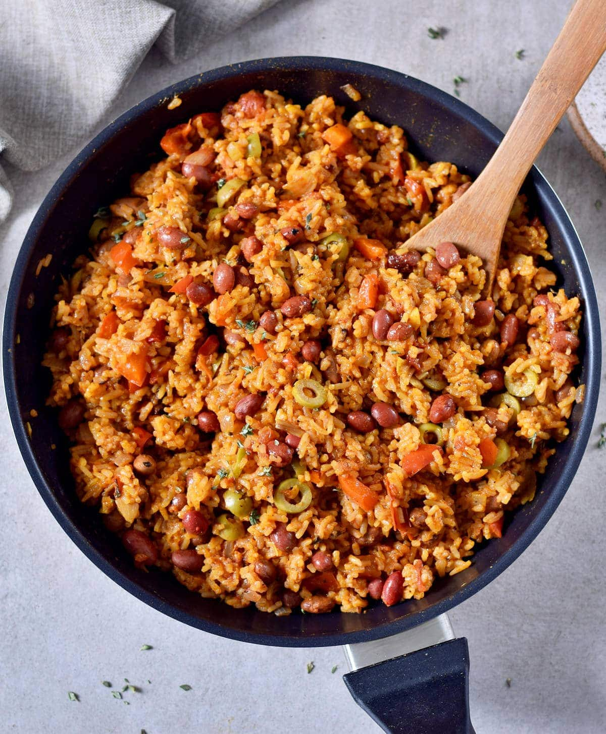 spanish rice and beans in a pan