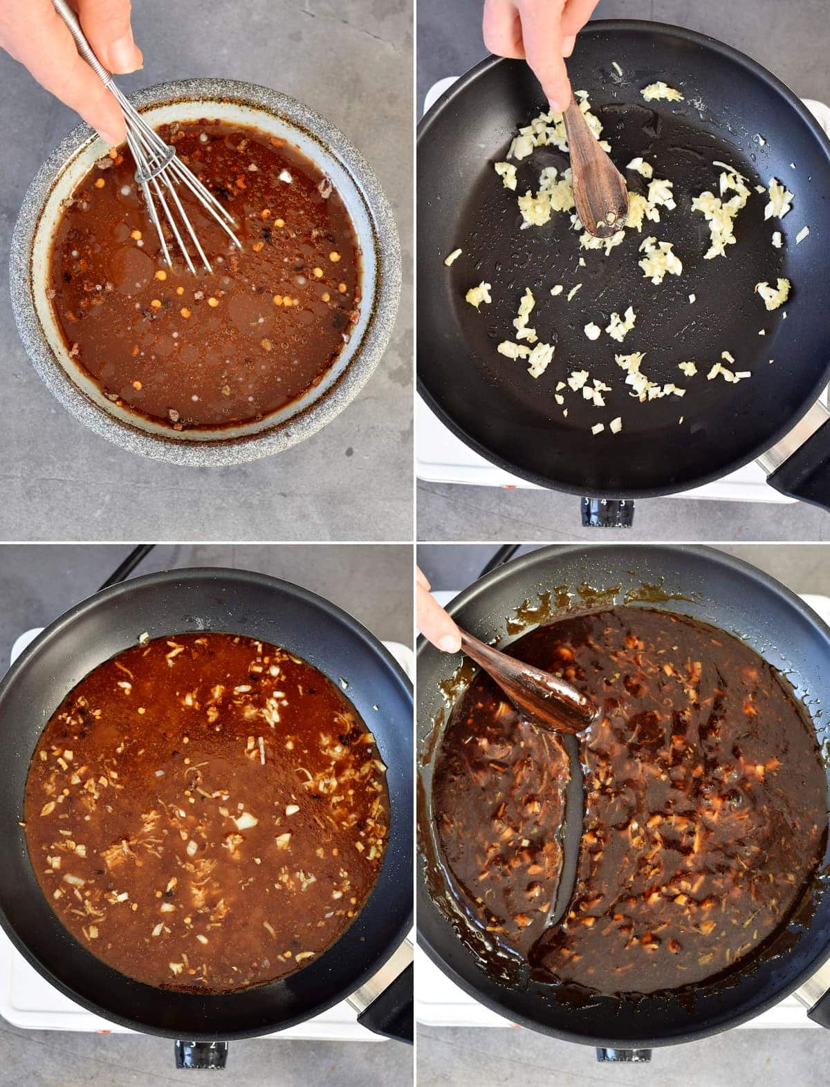 4 step-by-step photos how to make brown chinese garlic sauce