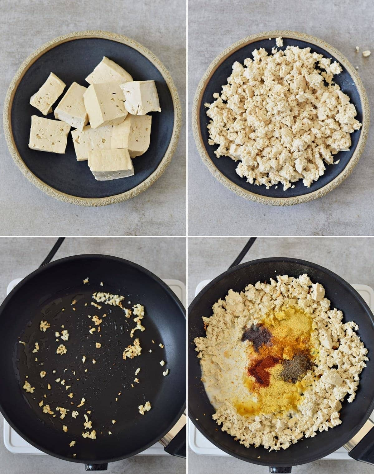 4 step-by-step photos of how to make tofu scramble