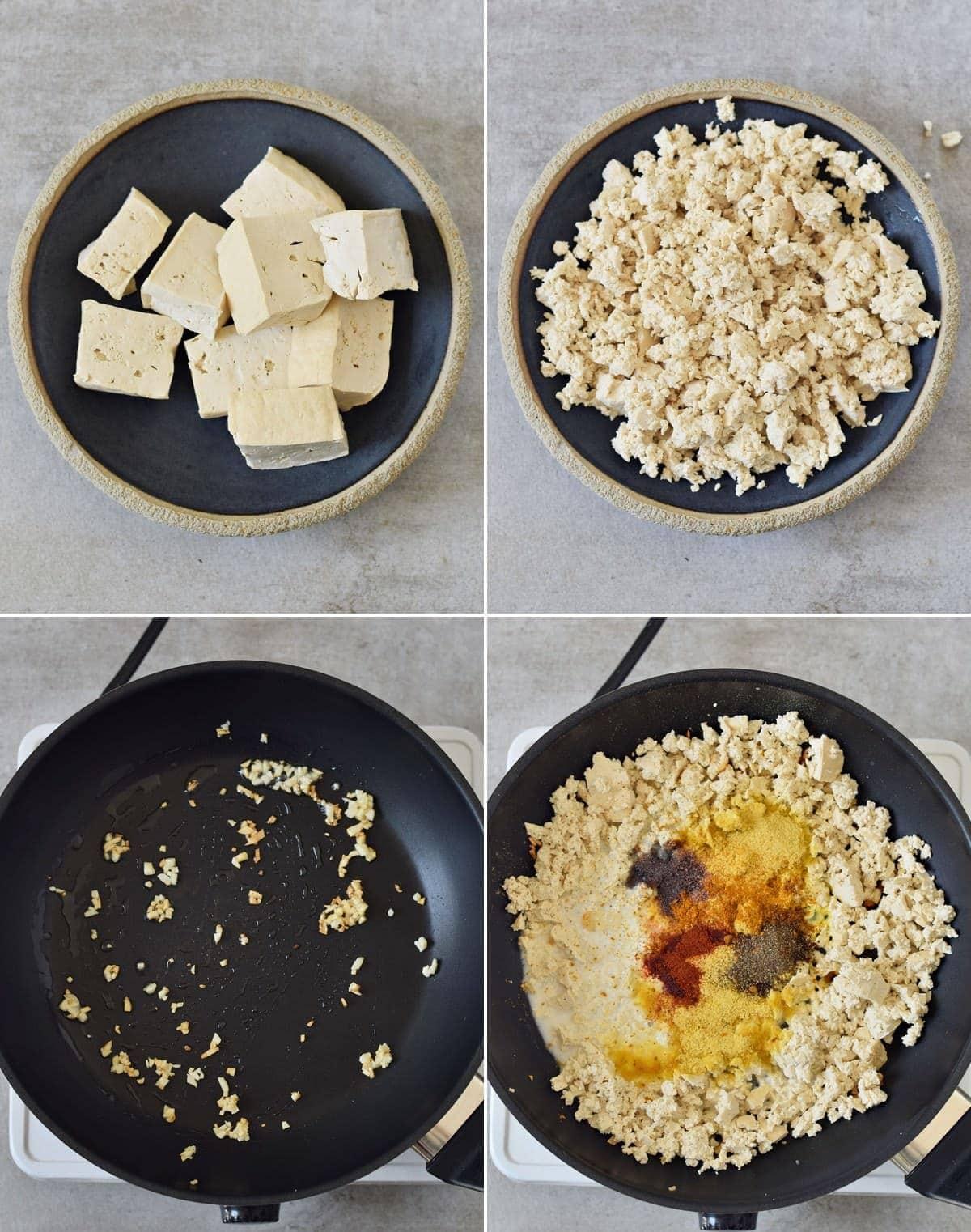 4 Schritt-Für-Schritt Fotos von der Herstellung von Tofu Rührei