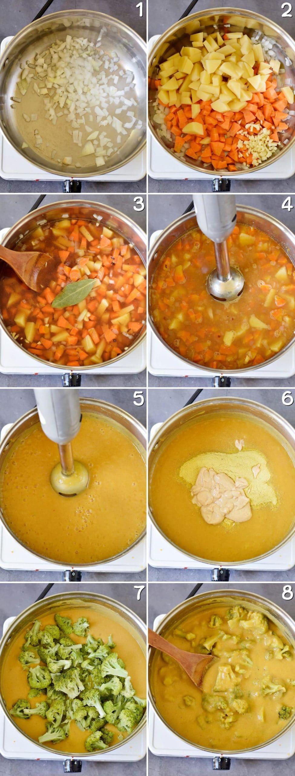 8 Schritt-Für-Schritt Fotos von der Herstellung einer veganen Käse-Brokkolisuppe