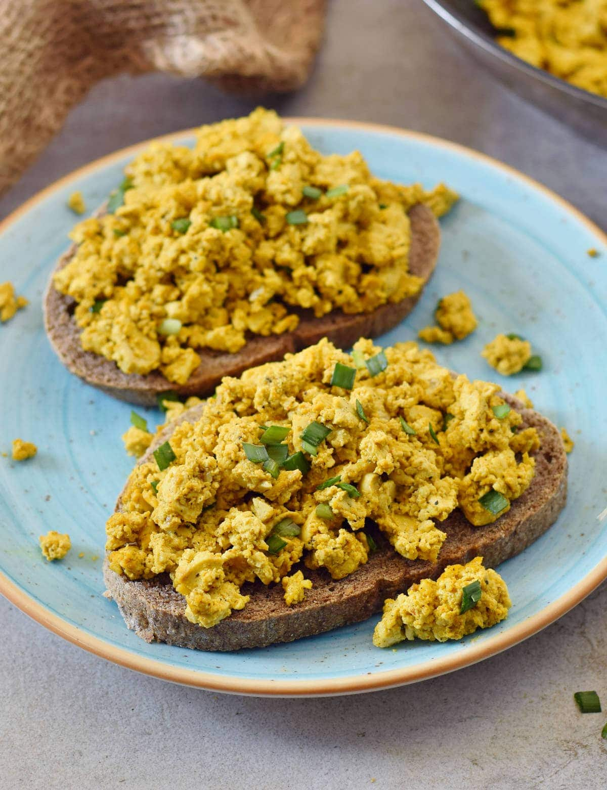 close-up of vegan eggs on bread