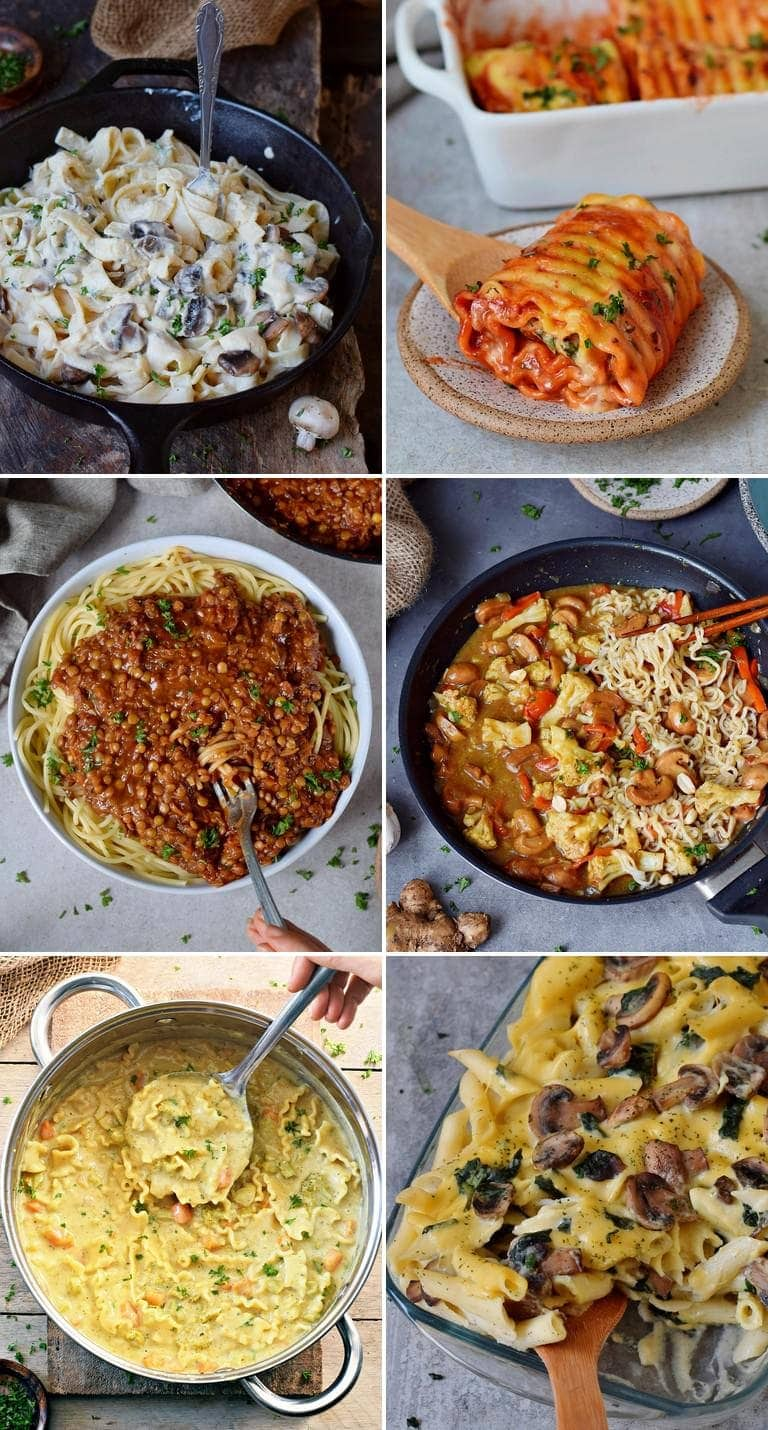 collage with 6 images of the best vegan pasta recipes
