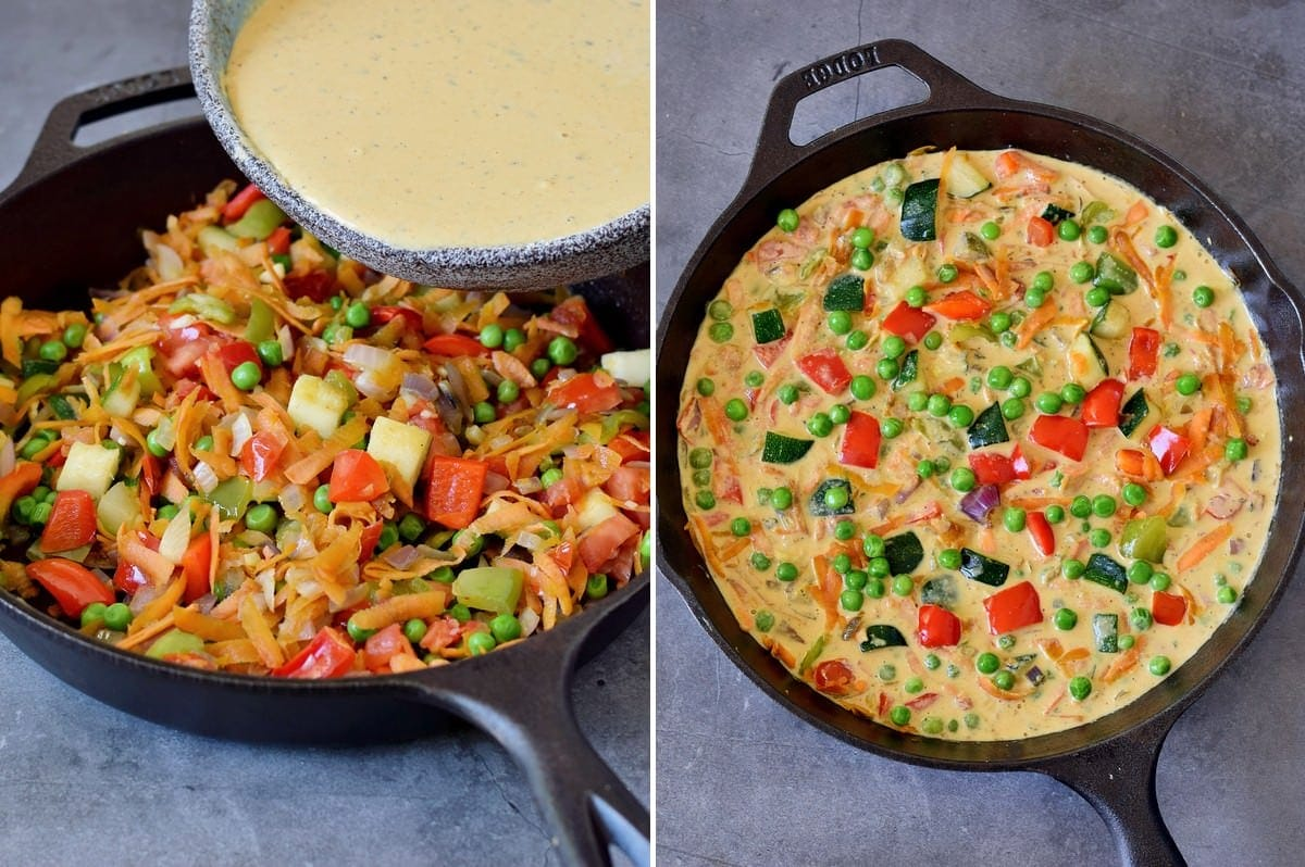 2 step-by-step photos how to add chickpea flour batter to veggie skillet