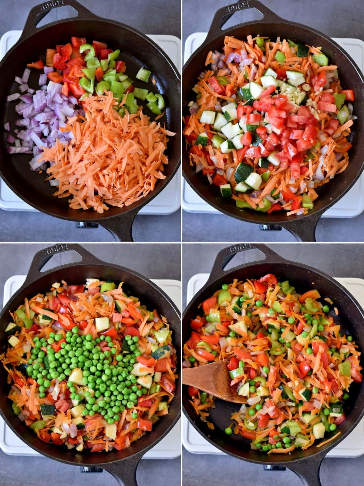 4 step-by-step photos how to fry veggies in a skillet