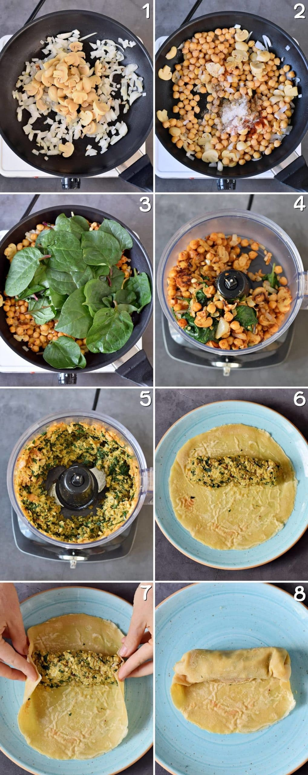 8 step-by-step photos of how to make savory vegan crepes