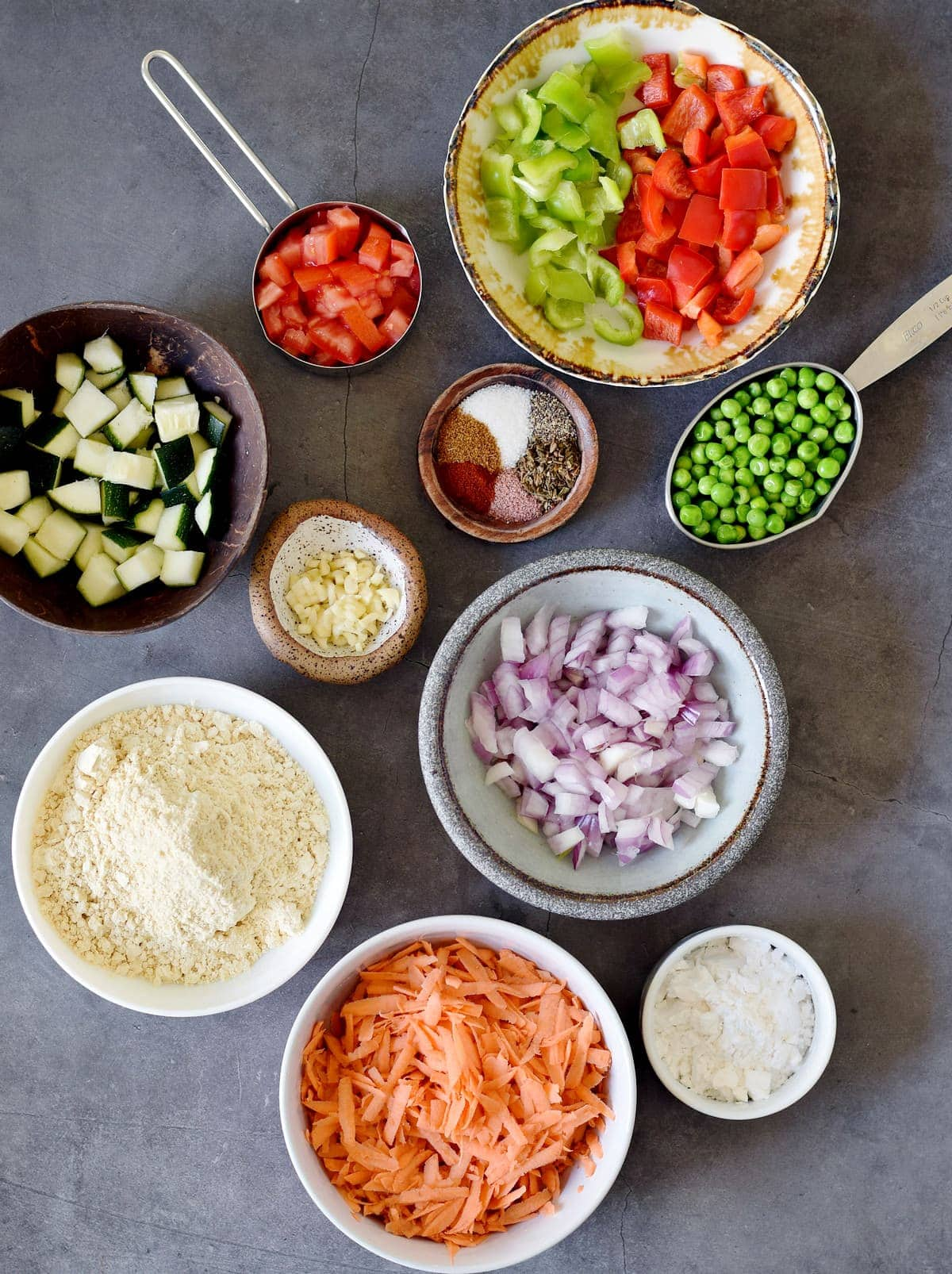 Ingredients used for veggie frittata