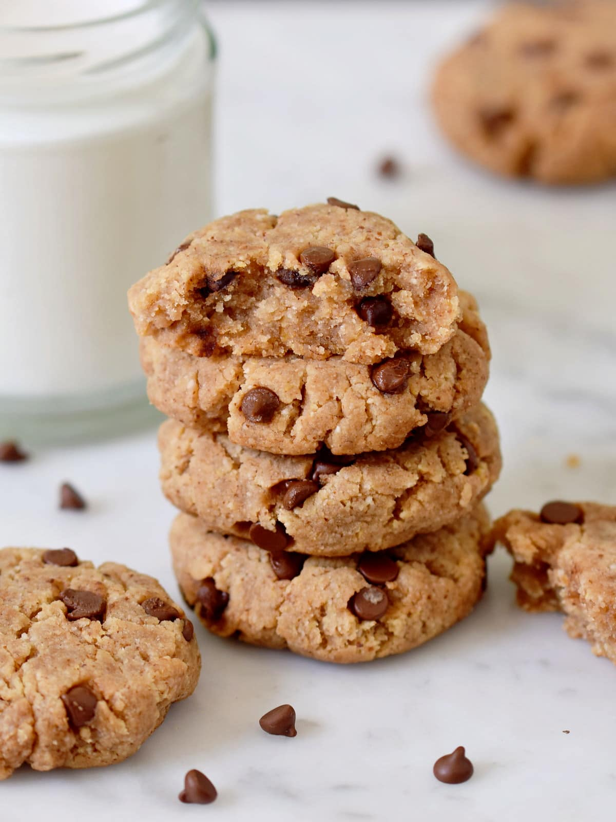 a tower of soft peanut butter cookies with chocolate chips