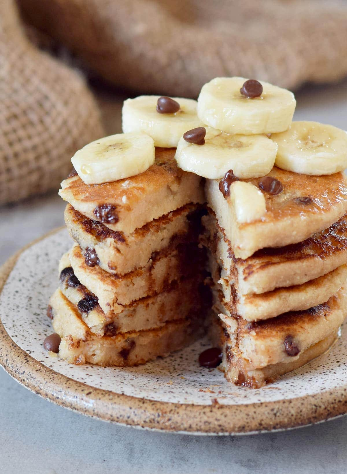 gluten-free pancake stack with banana slices