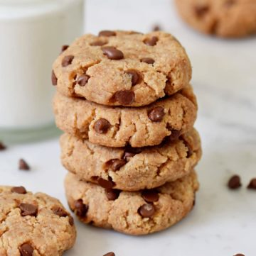 healthy peanut butter cookies with chocolate chips from the side