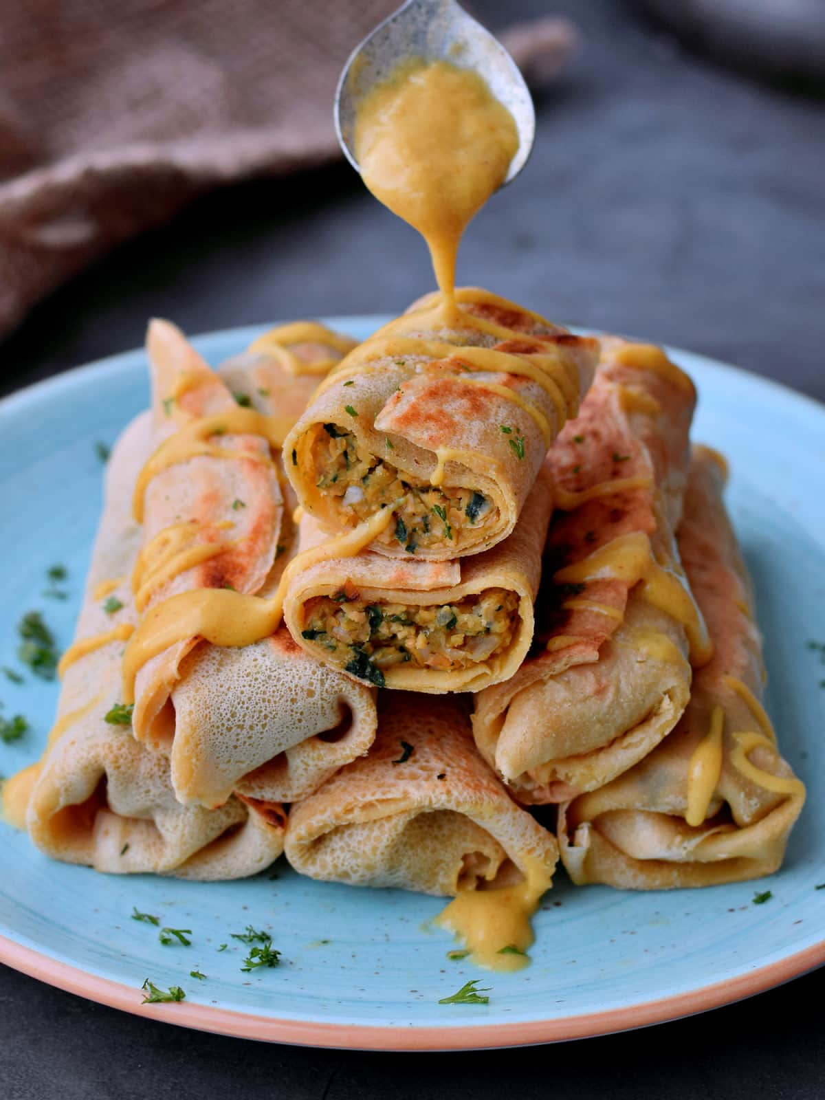Savory Crepes With A Veggie Filling Easy Recipe Elavegan