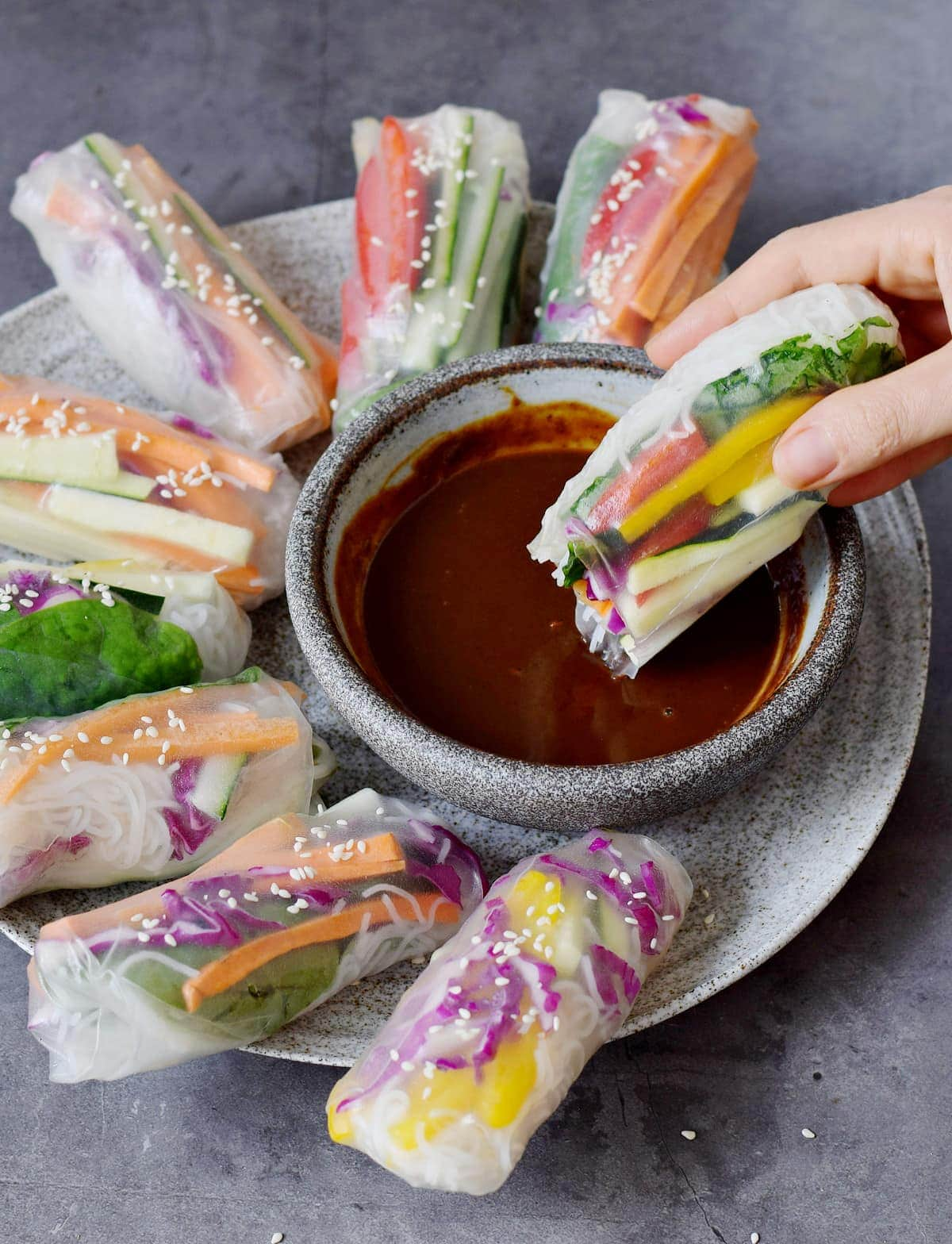 summer roll in chinese bbq dip