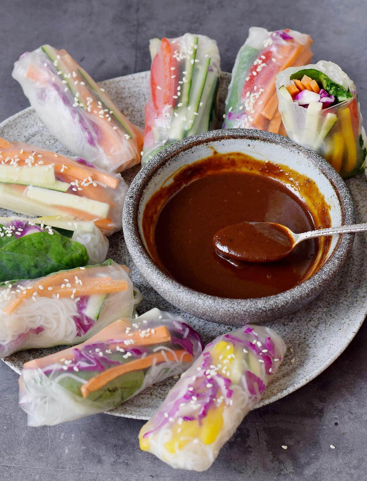 vegan summer rolls with homemade Chinese dip