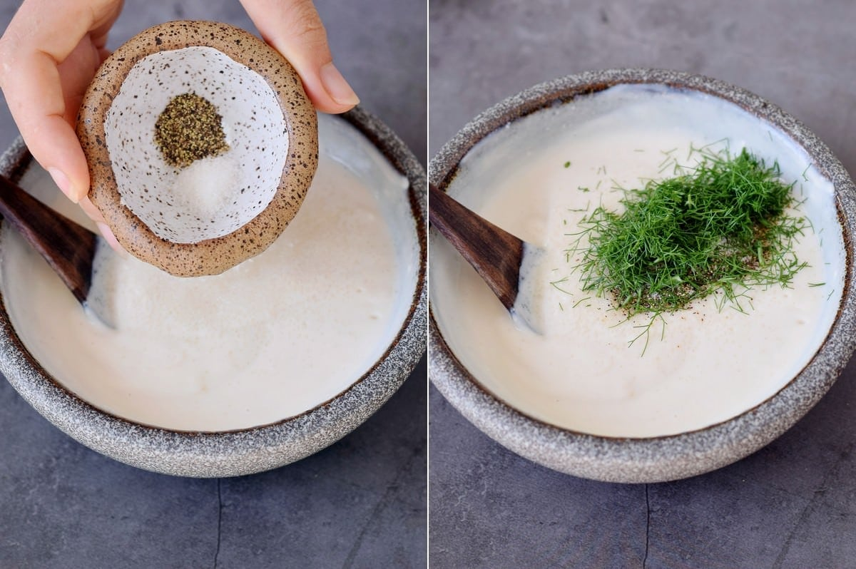 2 Fotos die die Zubereitung eines veganen Dressings aus Joghurt und Dill zeigen
