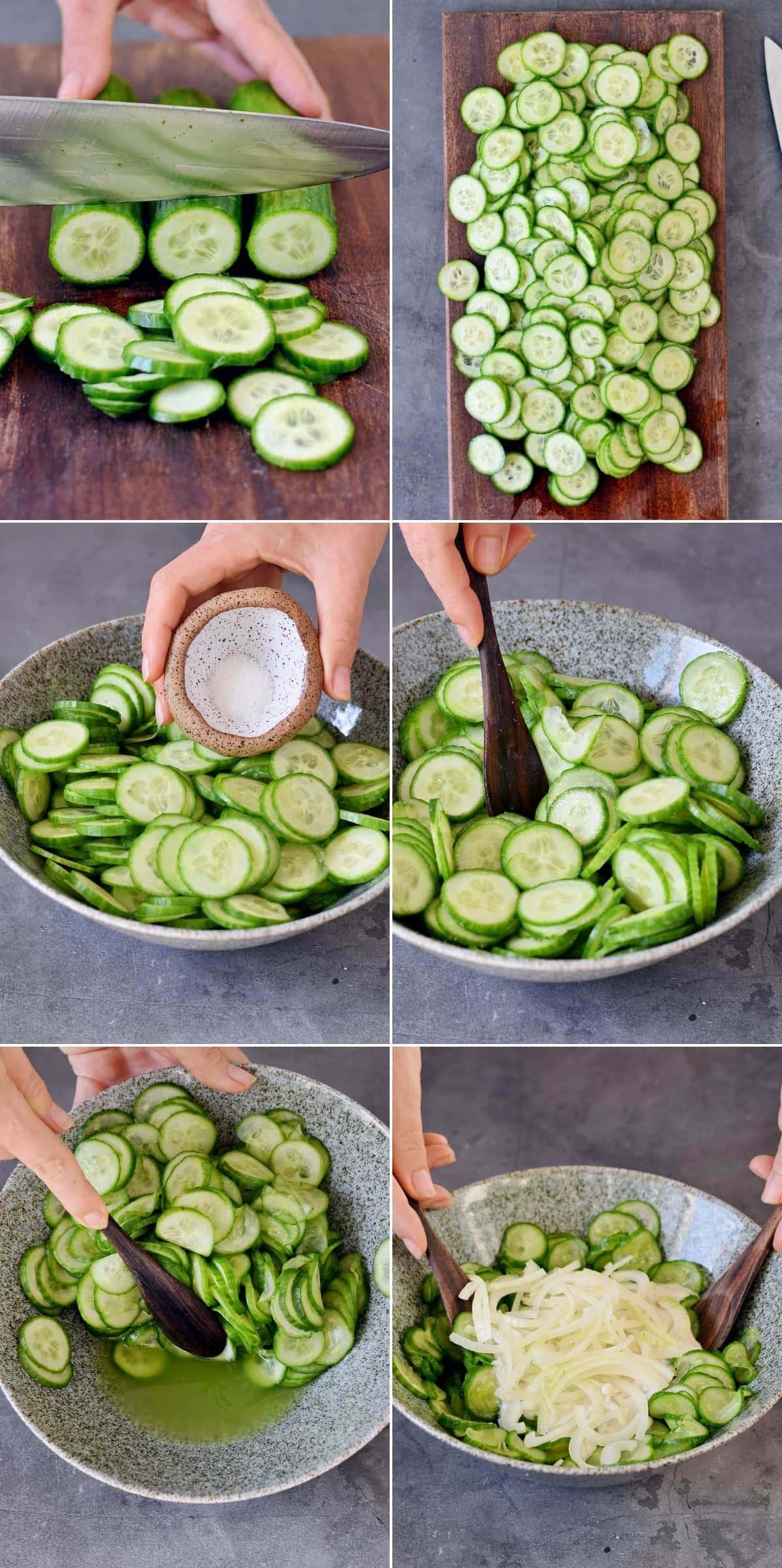 6 Zwischenschrittfotos von der Zubereitung eines Salats aus Gurken