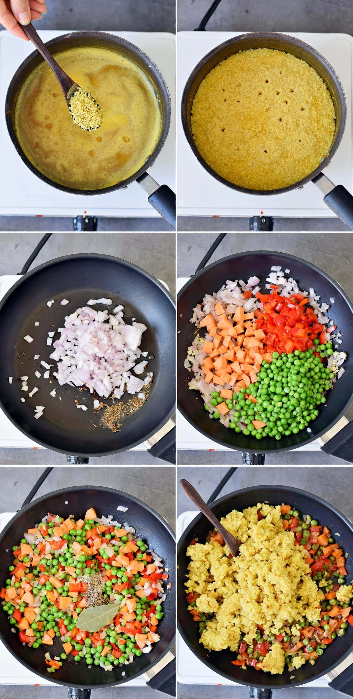 6 step-by-step photos of making quinoa pilaf with vegetables
