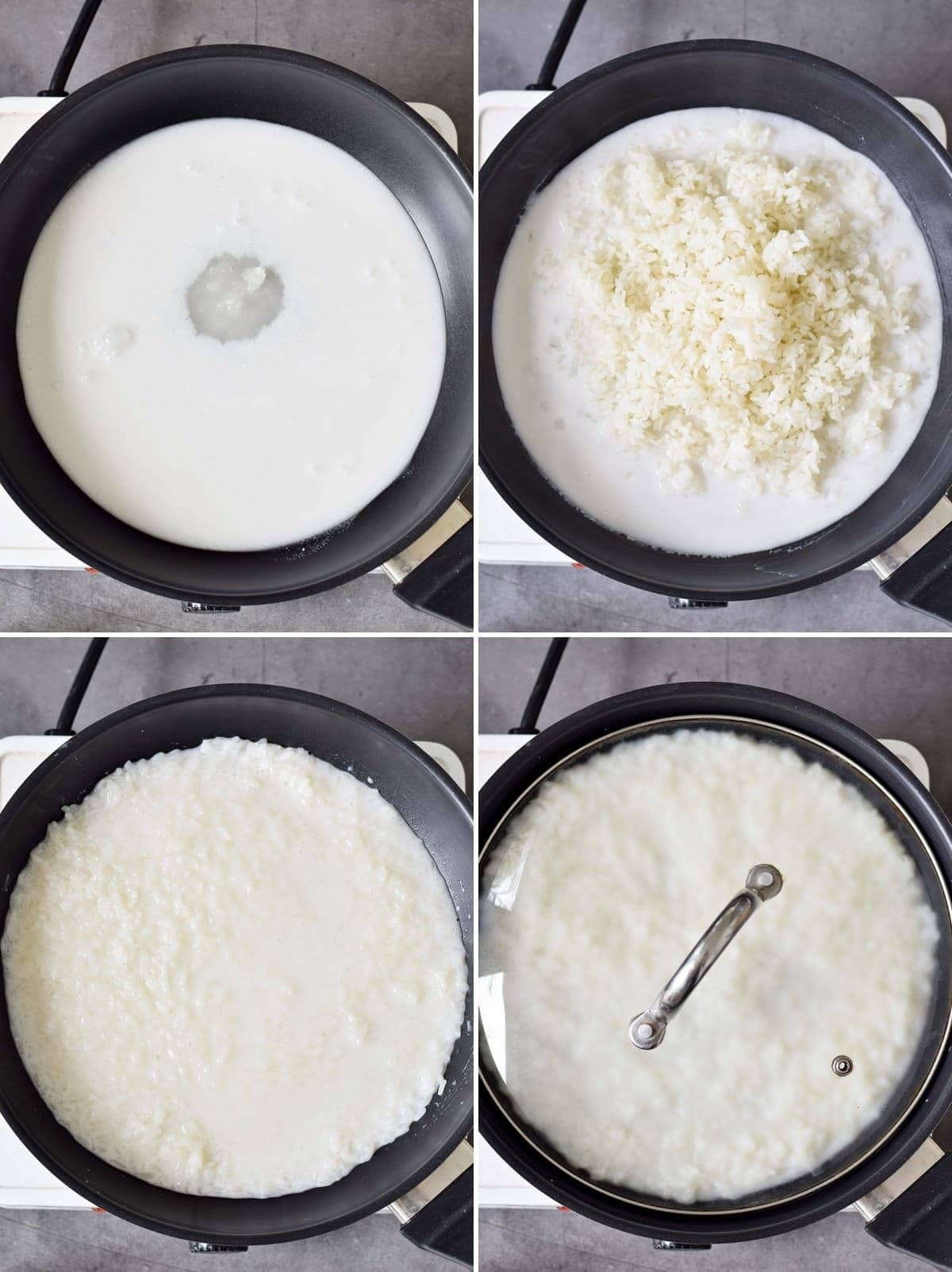 4 step-by-step photos of how to make sticky coconut rice