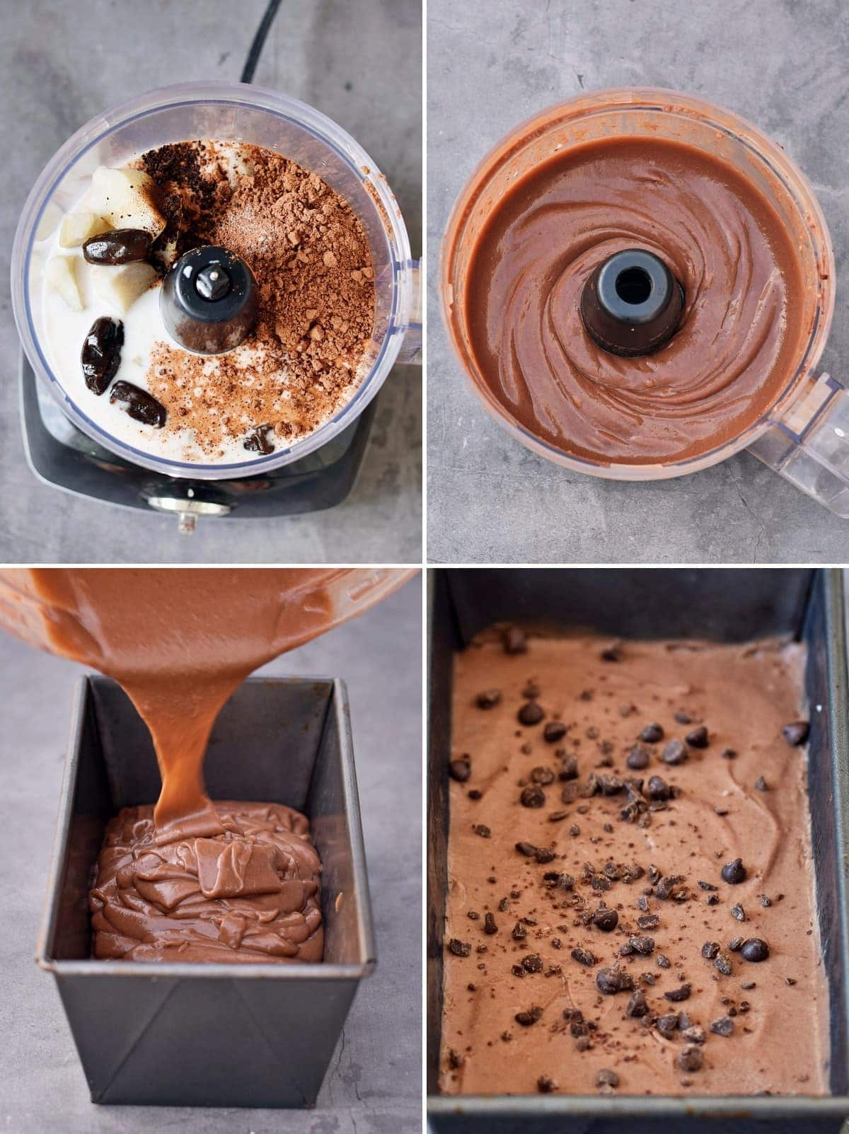 4 step by step photos showing how to make vegan chocolate ice cream