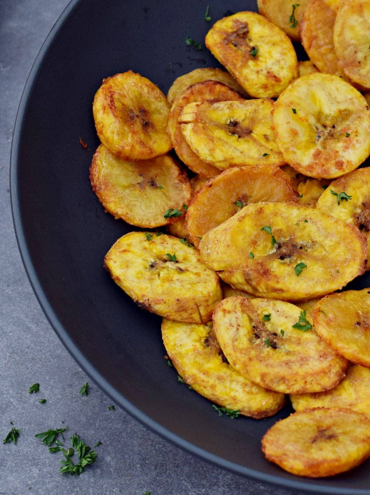 close-up of baked platanos maduros