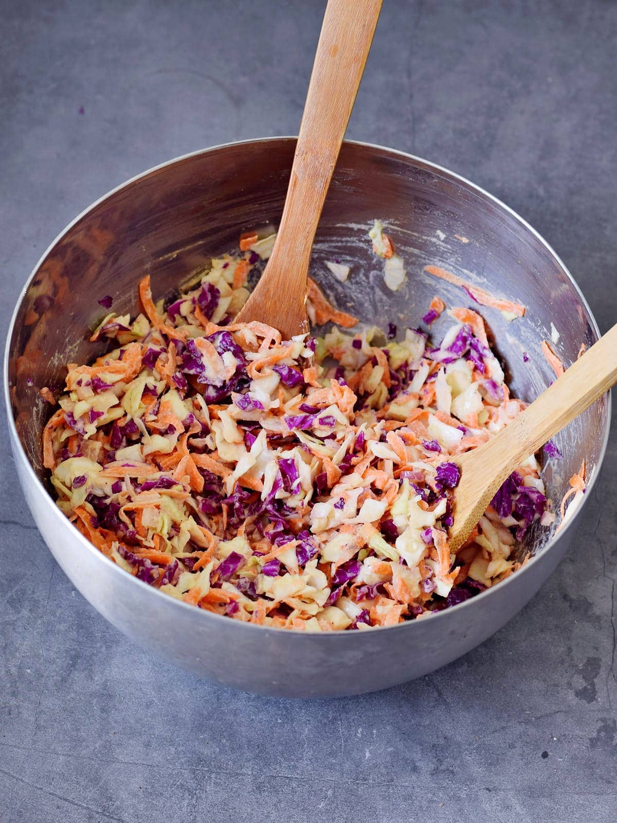 cole slaw mixed in a large bowl