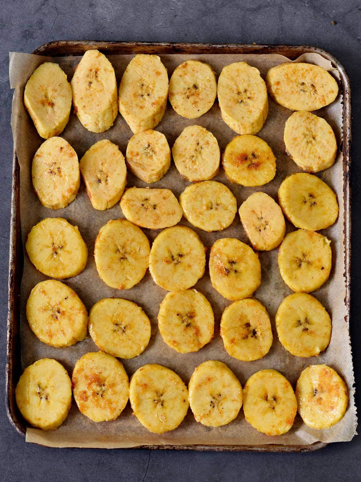 plantain slices before baking