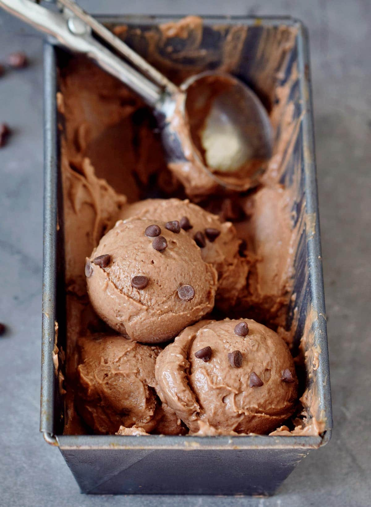 scoops of dairy free chocolate ice cream