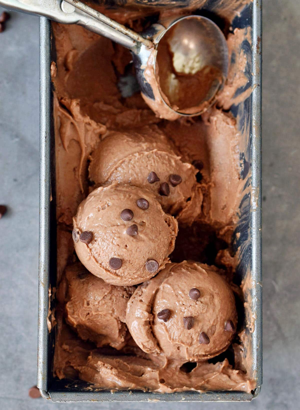 scoops of vegan chocolate chip ice cream