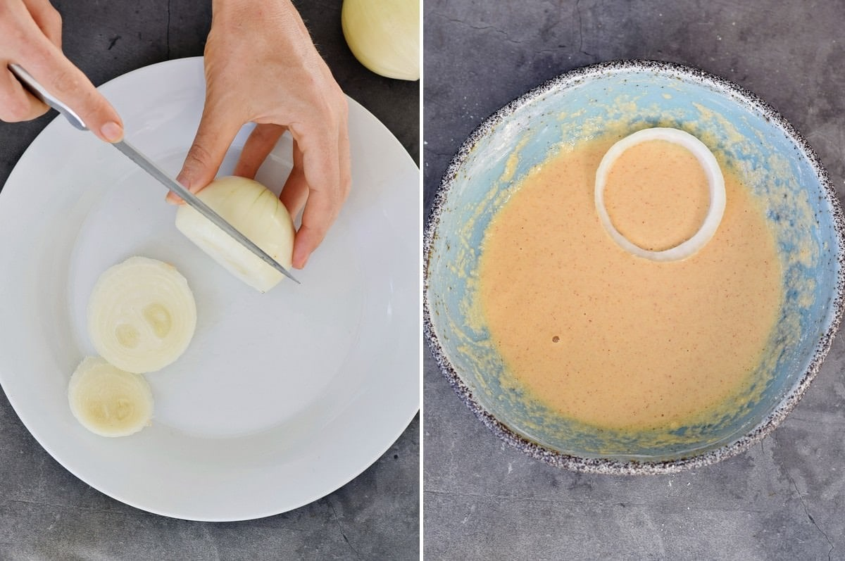 2 step-by-step photos how to coat an onion and add it to chickpea batter