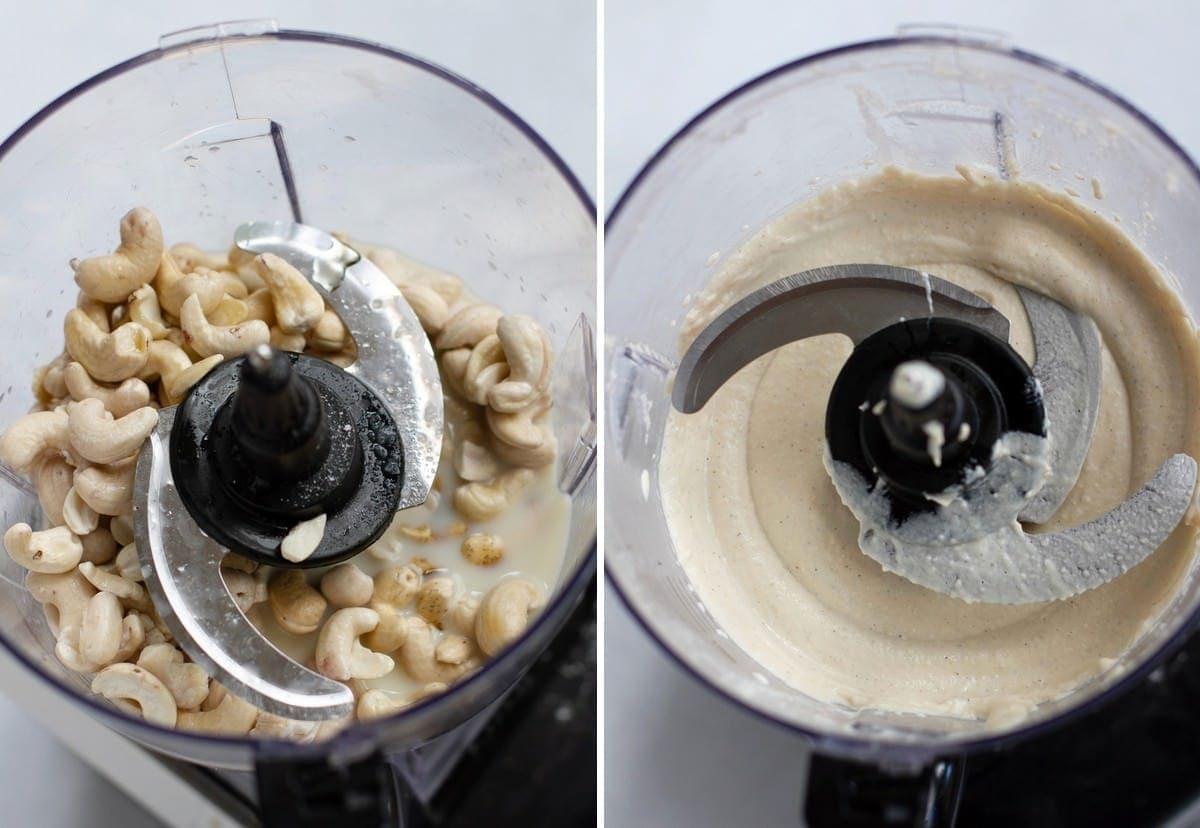 2 Schritt-für-Schritt-Fotos von der Herstellung von Cashewcreme