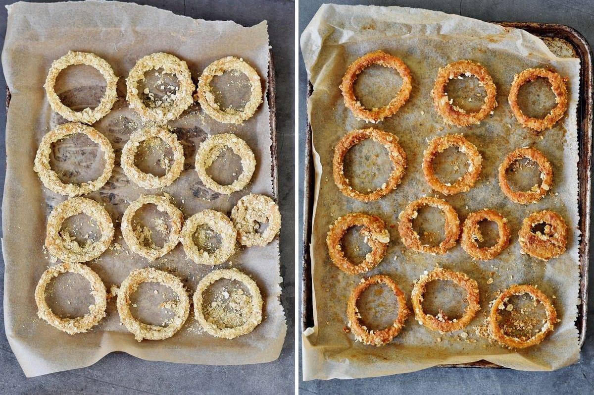 2 step-by-step photos of onion rings on baking sheet before and after baking