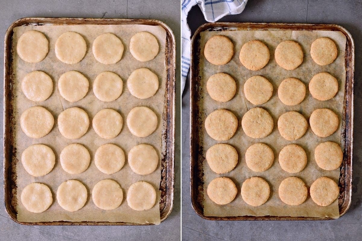 2 step-by-step photos showing nilla cookies before and after baking