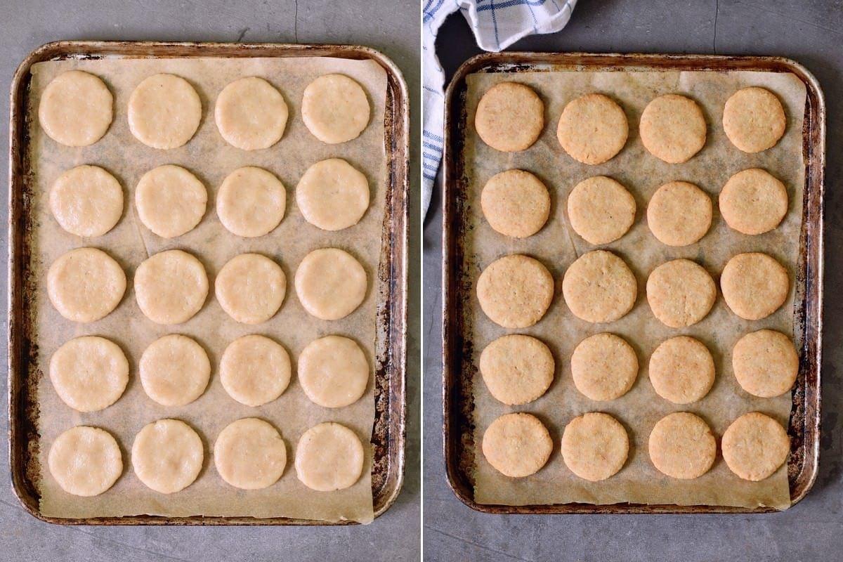 2 Schritt-für-Schritt-Fotos, die vegane Kekse (Plätzchen) vor und nach dem Backen zeigen