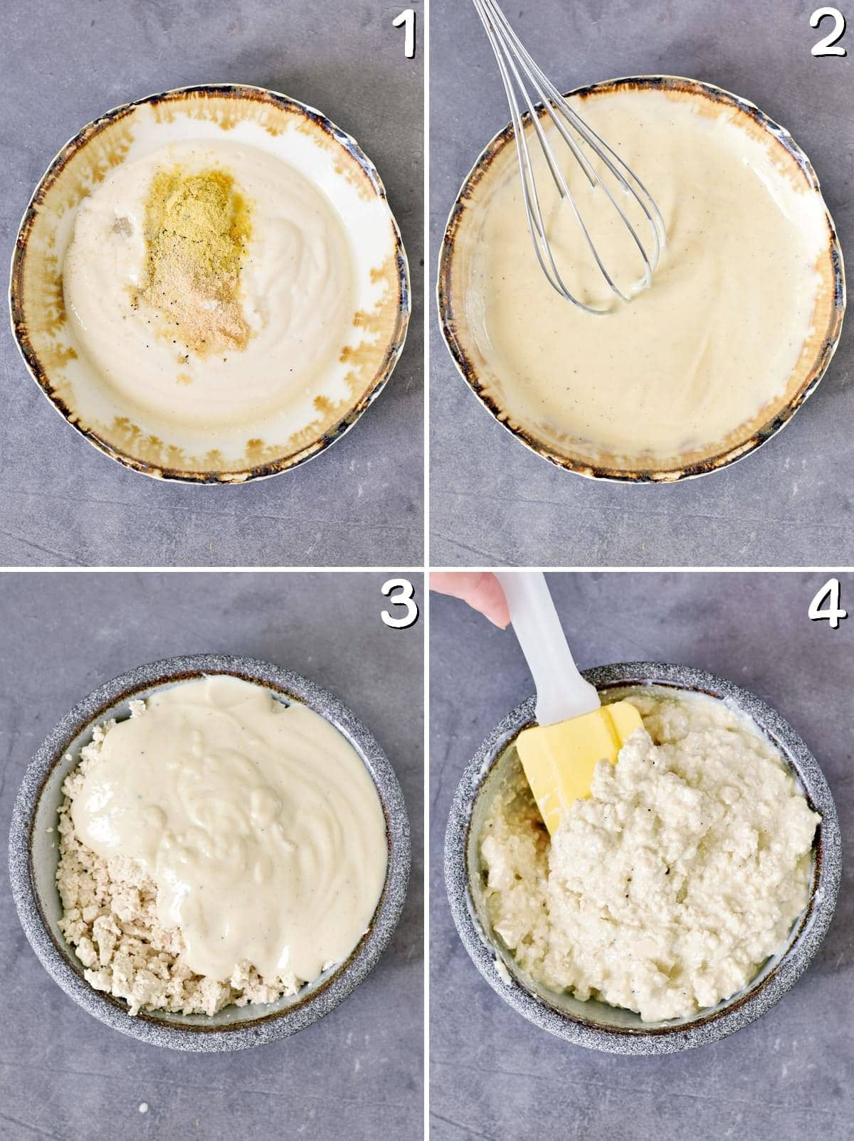 4 step-by-step photos how to make vegan cottage cheese