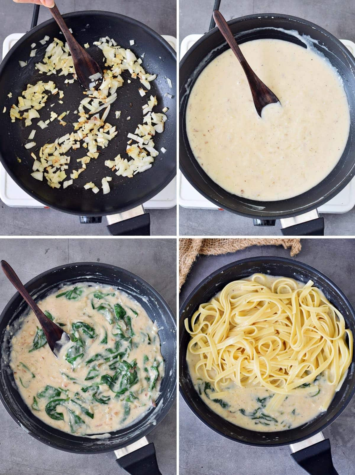 4 step-by-step photos showing how to make creamy noodles with spinach