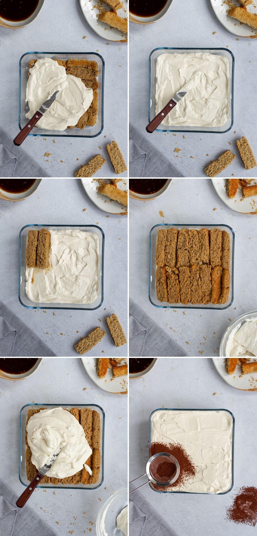 6 Schritt-für-Schritt-Fotos, wie man veganes Tiramisu zusammensetzt