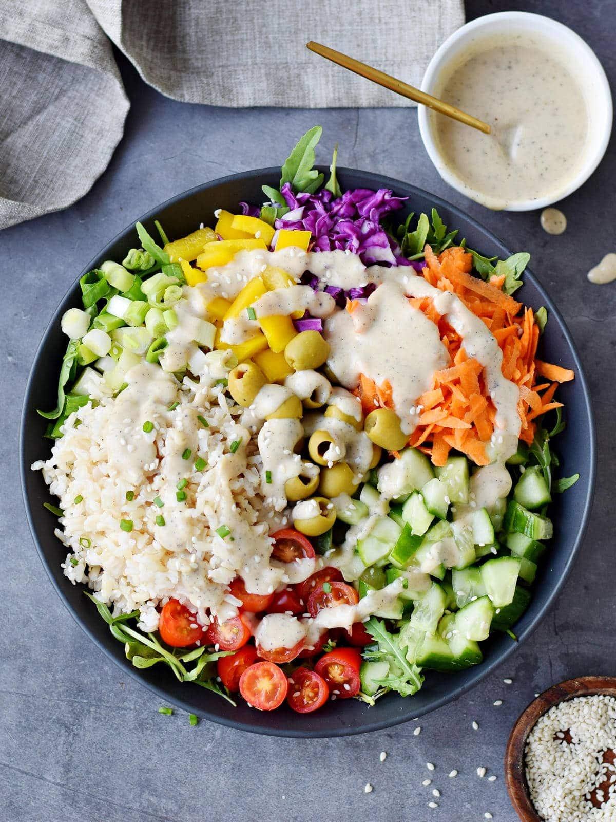 vegetarian buddha bowl with creamy dressing